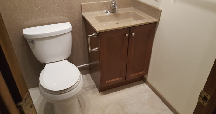 Brown Basement Lavatory