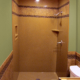 Onyx shower with low profile base in color corinthian