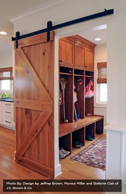 Mudroom with barndoor