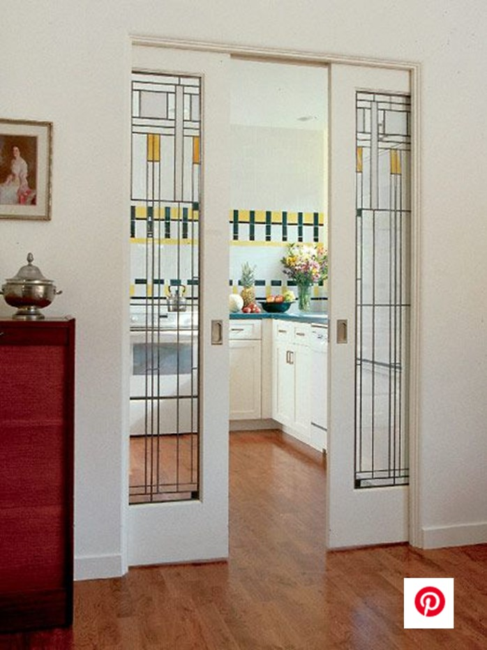 Leaded Glass pocket door craftsman