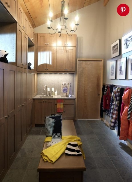 Natural mudroom with seating