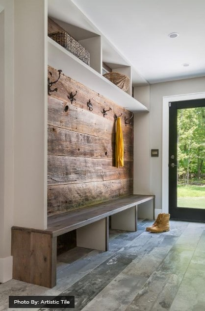 Mudroom with cabin feel