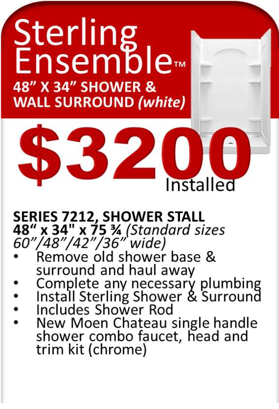 Sterling Shower Replacement Special 48x34