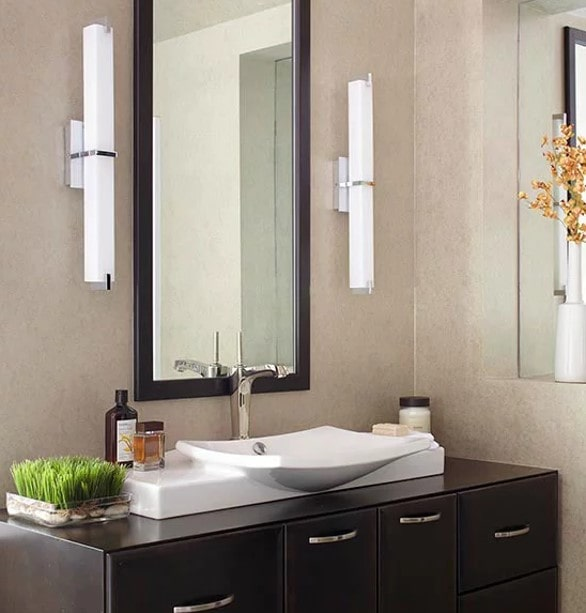 Floating vanities with raised sinks