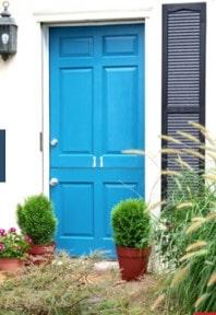 bright blue door after