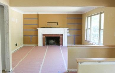 less brick fireplace before